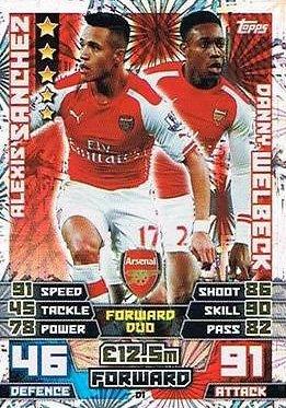 Match Attax Extra 2014/2015 Alexis Sanchez/ Danny Welbeck (Arsenal) Duo Card 14/15
