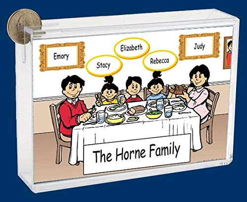 Personalized NTT Cartoon Side Slide Frame Gift: Family Dinner 1 boy 2 Girls Gift, Family Gift