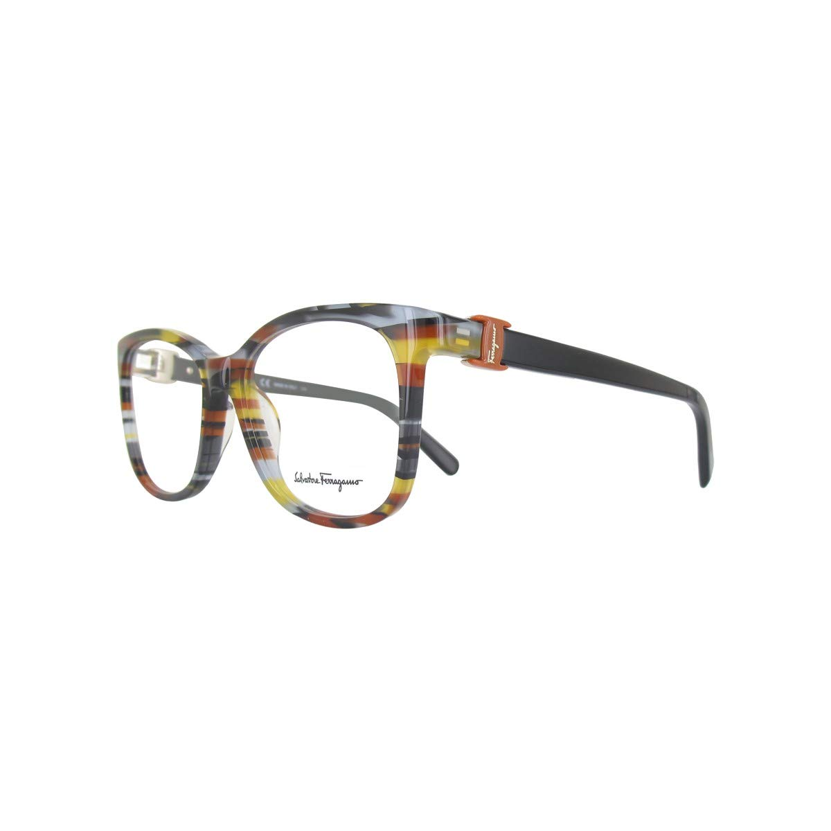 ce58e31157 Amazon.com  Eyeglasses FERRAGAMO SF 2760 999 GEOMETRIC BROWN GREY  Clothing