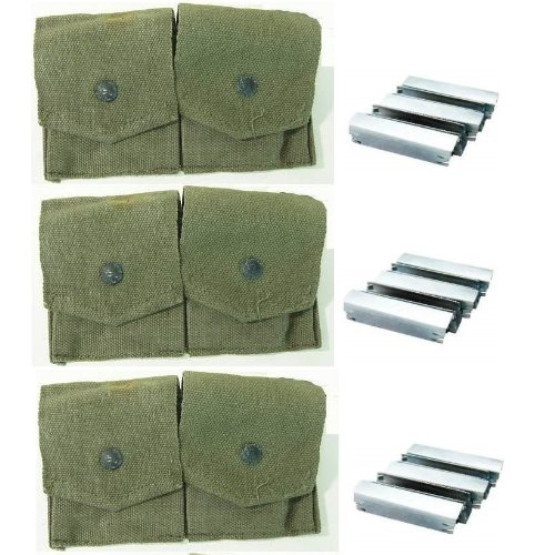 15 Count Pouch (Ultimate Arms Gear Pack of 3 Military Ammo OD Olive Drab Green Canvas Pouch Surplus Mosin Nagant M38 M44 91/30 1891 91 30 7.62x54 Cartridge Ammunition Rounds Dual Pouches + 15 Pack Stripper Clip)