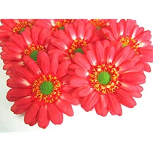"(12) BIG Silk Orange Gerbera Daisy Flower Heads , Gerber Daisies - 3.5"" - Artificial Flowers Heads Fabric Floral Supplies Wholesale Lot for Wedding Flowers Accessories Make Bridal Hair Clips Headbands Dress 109"