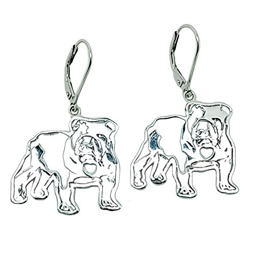 Price comparison product image Polished 925 Sterling Silver English Bulldog Dangle Earrings