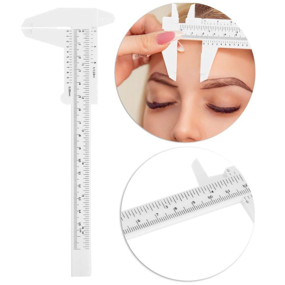 ZHONGJIUYUAN 30-PACK Portable 150MM Plastic Eyebrow Measuring Vernier Caliper Tattoo Microblading Caliper Ruler Permanent Makeup Measurement Tools(random color)