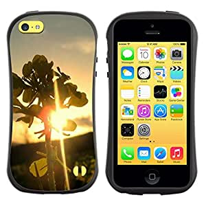 Caso de goma TopCaseStore Allround carcasa protección antichoque Hybiid Defender para Apple iPhone 5C - naturaleza bacteriológico Sunset