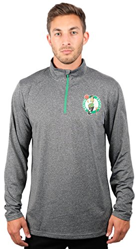 NBA Boston Celtics Men's Quarter Zip Pullover Shirt Athletic Quick Dry Tee, Large, Charcoal