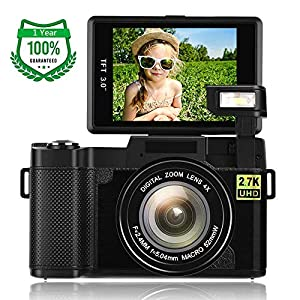 51C2A37BvvL. SS300  - Digital Camera,Vlogging Camera for Youtube 2.7K 24.0MP Ultra HD WiFi Camera 3.0 Inch 180 Degree Rotation Flip Screen…