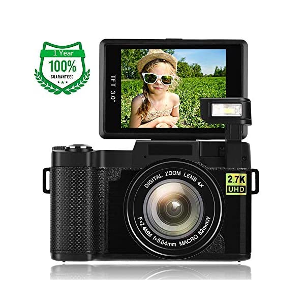 51C2A37BvvL. SS600  - Digital Camera,Vlogging Camera for Youtube 2.7K 24.0MP Ultra HD WiFi Camera 3.0 Inch 180 Degree Rotation Flip Screen…