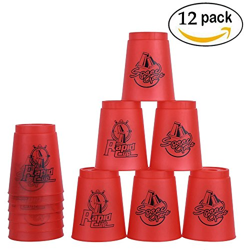 Bestie-Gear Quick Stacks Cups, Sports Stacking Cups Speed Training Set of 12 with Carry Bag(Red) by Bestie-Gear