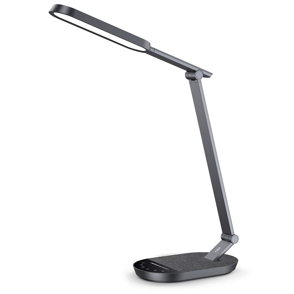 TaoTronics LED Desk Lamp, Eye-caring Table Lamps, Dimmable Office Lamp with 5V 2A USB Port, 5 Color Modes, Adjustable Brightness, Touch Control, Timer, Night Light