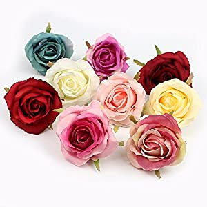 FLOWER 7pieces 6cm Artificial Rose Head Silk for Wedding Decoration Wall Handmade Fake 2