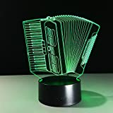 VELAN 3D Lamp Accordion Musical instruments Girls Boys Bithday Gift Acrylic Table Night light Furniture Decorative Illusion colorful 7 color change household Desk Accessories