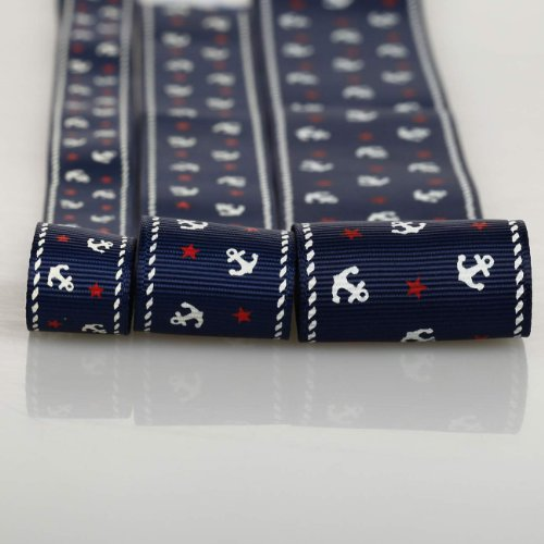 Nautical Style Anchor & Stars Pattern Pertersham Grosgrain Ribbon by Neotrims UK.3 Widths: 16mm,25mm 38mm,7 Colours,Washable and Decorative Trimming Braid for Apparel,Crafts. Navy, Mix Size 9mts