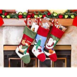 "3 Pcs Set - Classic Christmas Stockings 18"" Cute Santa's Toys Stockings (Embroidered)"