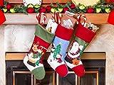 3 Pcs Set - Classic Christmas Stockings 18'' Cute Santa's Toys Stockings (Embroidered)