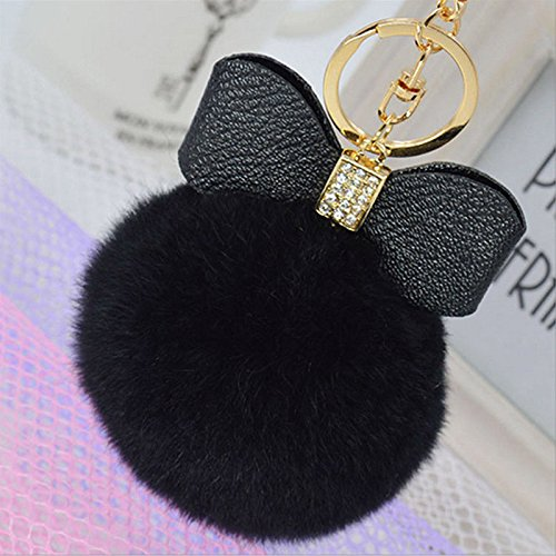 [Say's Headband - Rabbit Fur Fluffy Puff Ball Bow PomPom Charm Car Handbag Key Chain Ring / Black] (Costume Design For Rabbit Hole)