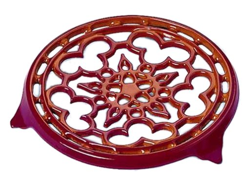 Le Creuset Enameled Cast-Iron 9-Inch Deluxe Round Trivet, Cerise (Cherry Red) Red Cast Iron Trivet