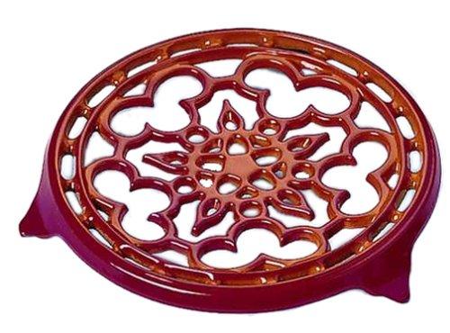 Le Creuset Enameled Cast-Iron 9-Inch Deluxe Round Trivet, Cerise (Le Creuset Red Cast Iron)