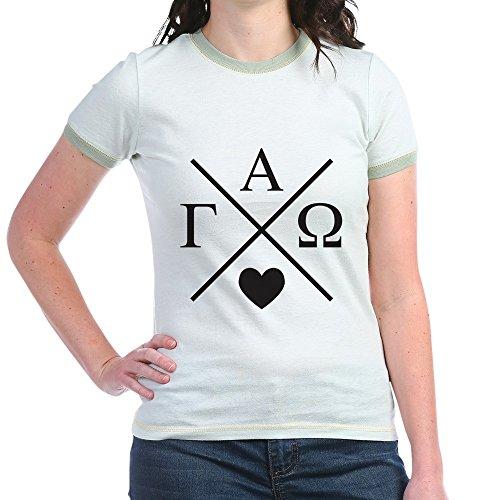 CafePress - Gamma Alpha Omega Cross - Jr. Ringer T-Shirt, Slim Fit 100% Cotton Ringed Shirt ()
