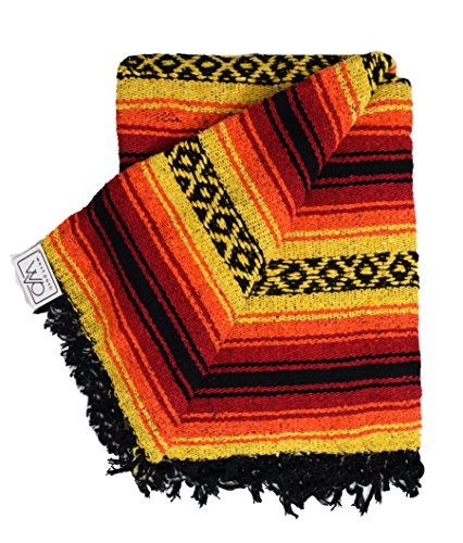 Heavyweight Mexican Falsa Yoga Blanket, Extra Thick With