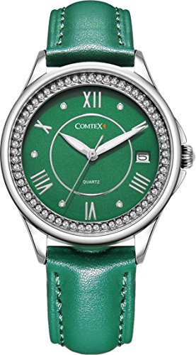 Comtex Women's Wrist Watches with Green Tone Leather Strap Mystic Forest Watch