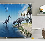 Pillowcase Jurassic Decor Shower Curtain Set, Large Fish is Caught By A Suchomimus Dinosaur Flying Pterosaur Dinosaur, Bathroom Accessories, Blue and Green 60X72 Inch