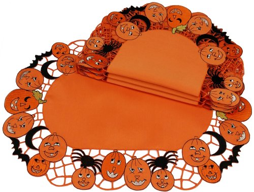 Xia Home Fashions 4-Pack Happy Jack-O-Lanterns Halloween Placemats, 14 by -
