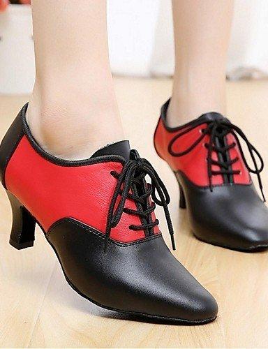 ShangYi Chaussures de danse(Noir) -Personnalisables-Talon Bottier-Cuir-Latine black and gold