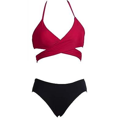 16acaa6192c2d Amazon.com: Women Sexy Solid Bikini, Two Piece Swimsuit Swimwear Bathing  Beachwear by residentD: Clothing