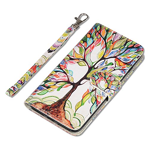 iPhone SE Case, UrSpeedtekLive iPhone SE Wallet Case, Premium PU Leather Funny Case Flip Cover with Card Slots & Stand For iPhone 5/5S/SE, Life Tree Pattern by UrSpeedtekLive (Image #2)