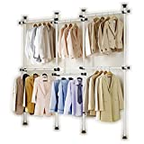 Portable Indoor Garment Rack Tools free DIY Coat Hanger Clothes Wardrobe 4 Poles 6 Bars. Heavy Duty Stainless Steel Poles and Bars. 60kg Loading per Horizontal Bar. Free Reach Hook Included.[3206]