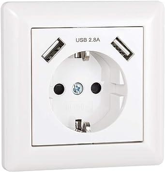 USB Enchufe Pared 2.8A Blanco Schuko Enchufe con USB Toma de ...