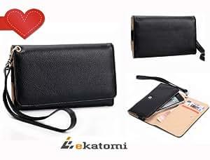 PU Leather Universal Phone Cover Women's Wallet Wrist-let fits LG G2 Case - BLACK. Bonus Ekatomi Screen Cleaner