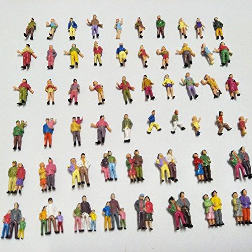 100pcs 1:87 HO Scale Hand Painted Model Train Park Street Passenger People (Ho Scale Mini Scene)