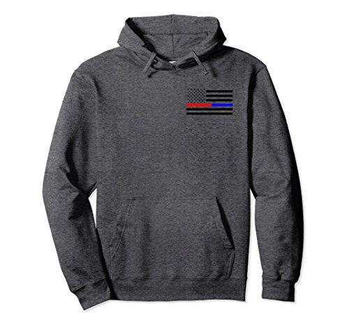 Firefighter Adult Hoody Sweatshirt (Unisex Thin Red Blue Line Firefighter Police Flag Hoodie Large Dark Heather)
