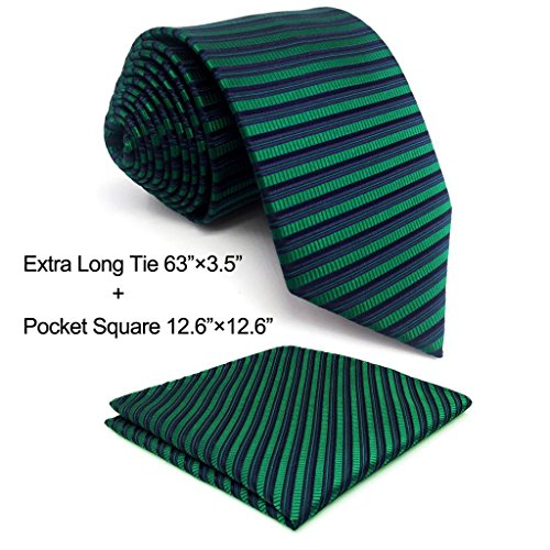 Green Stripe New Designer Necktie (Shlax&Wing New Horizontal Stripes Neckties Ties For Men Dress XL 63