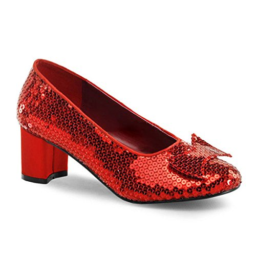 2 Inch Chunky Heel Silver Red Sequin Shoes Ruby Slippers Size: 9 Colors: Red (Girls Red Sequin Shoe Covers)