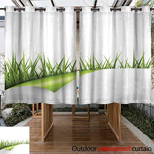 (RenteriaDecor Outdoor Curtain for Patio Green Grass with Wrapped Paper Sheet Isolated on White W96 x L72)