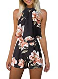 Women's Floral Printed Summer Dress Romper Boho Playsuit Jumpsuits Beach 2 Piece Outfits Top with Shorts,Black,Medium