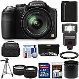 Panasonic Lumix DMC-FZ200 Digital Camera with 32GB Card + Battery + Case + Flash + Lens Set + Tripod + 3 Filters Kit