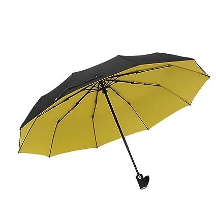 Sombrilla Tridimensional, Paraguas automático de Diez Huesos, Paraguas Doble Grande, Amarillo Azul Negro