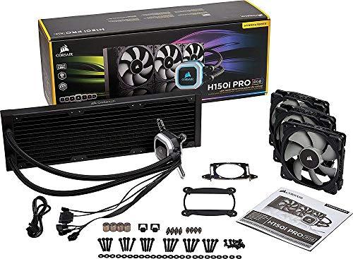 Corsair Hydro H150i Pro RGB, Sistema di Raffreddamento a Liquido, Radiatore da 360 mm, Tre Ventole PWM Serie ML da 120 mm, l'Illuminazione RGB, Compatibile con Socket Intel 115x/2066 e AMD AM4