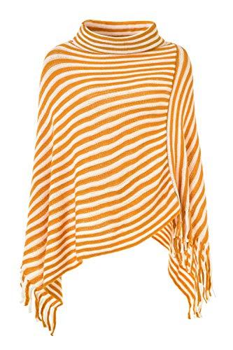 Ferand Women's Asymmetric Knit Striped Turtleneck Wrap Poncho Pullover Sweater, One Size, - Sweater Striped Asymmetrical