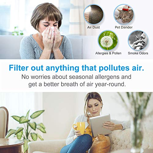QUEENTY Desktop Air Purifier with Night Light - Portable Air Cleaner with True HEPA Filter Odor Allergies Eliminator for Smoke, Dust, Home, Office and Pets