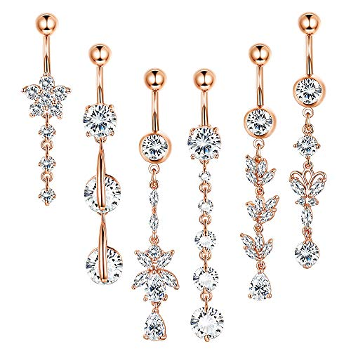 - Thunaraz 14G Stainless Steel Belly Button Rings Navel CZ Inlaid Body Jewelry Piercing Barbell