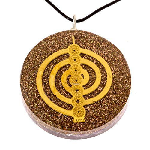 RALIEVA Reiki Cho Ku Rei Orgone Pendant, EMF Protection, Powerful Energy Generator, 2 inch, Top Quality, Black Strap Included, Reiki Energized, Orgonite Pendant for Sale -
