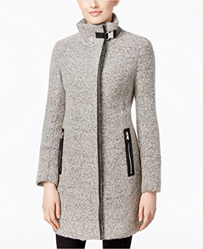 Calvin Klein Women's Faux Leather-Trim Boucle Walker Coat Grey Size Petite XL
