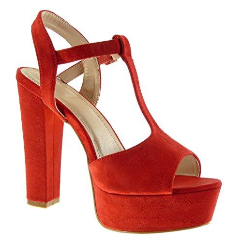 Angkorly - Scarpe da Moda sandali cinturino Peep-Toe zeppe donna fibbia Tacco a blocco tacco alto 13 CM - Rosso