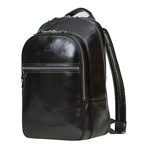 Solo Pelle Premium Lederrucksack / Backpack / Rucksack aus echtem Leder (Cognac Braun) Schwarz bwkzXH3Fyn