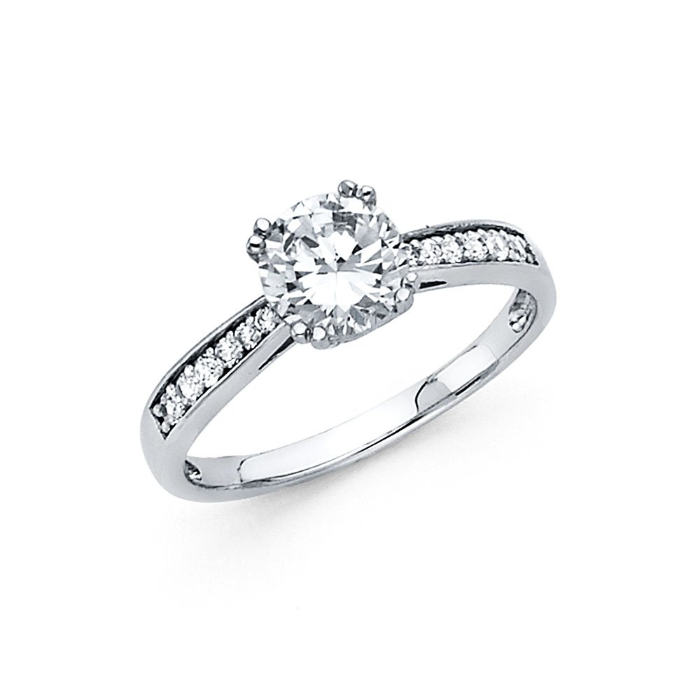 Paradise Jewelers 14K Solid White Gold CZ Engagement Solitaire Ring Anniversary CZ Round Band Bridal Ring Side Stones, Size 6