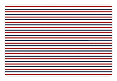 Lunarable Navy Pet Mat for Food and Water, Classical Striped Pattern Parallel Lines Marine Colors Sea Life Ocean Theme, Rectangle Non-Slip Rubber Mat for Dogs and Cats, Navy Blue Red White